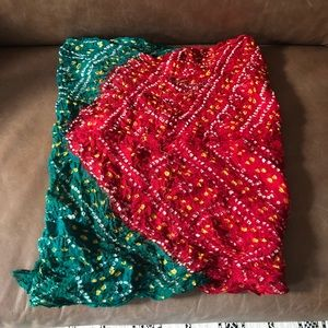 Accessories - Red and green boho tie dyed batik scarf wrap